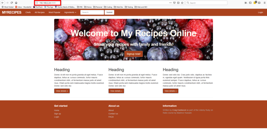 My Recipe Application running from my Windows 10 host