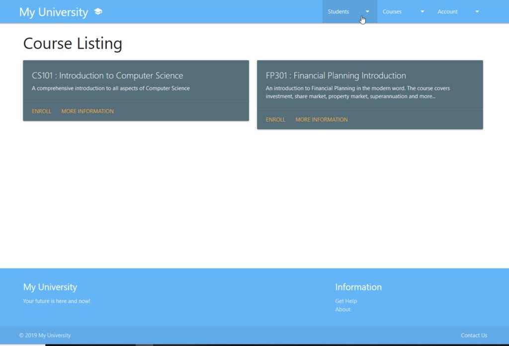 Materilize CSS University Application - Course Listing